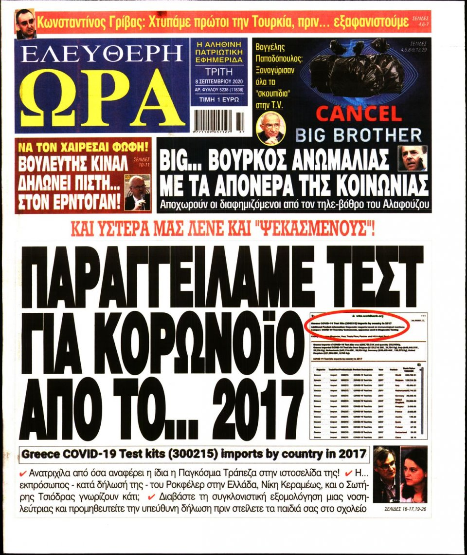 Πρωτοσέλιδο Εφημερίδας - Ελεύθερη Ώρα - 2020-09-08