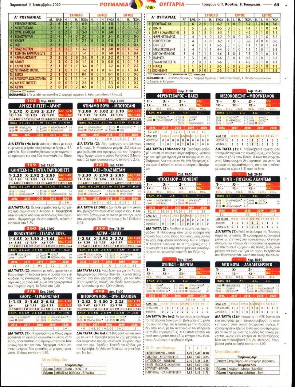 Οπισθόφυλλο Εφημερίδας - Match Money - 2020-09-11