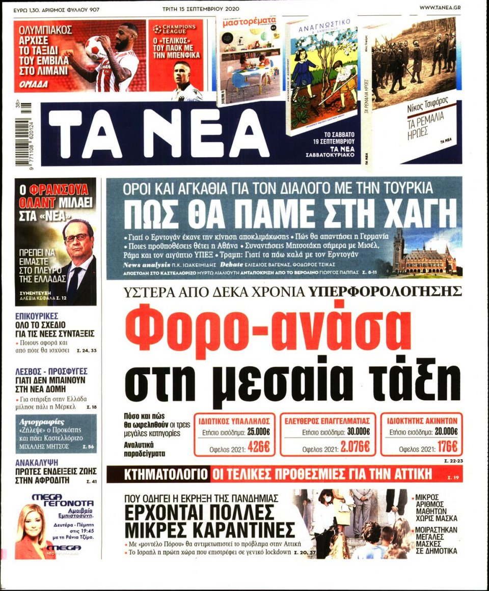 Πρωτοσέλιδο Εφημερίδας - Τα Νέα - 2020-09-15