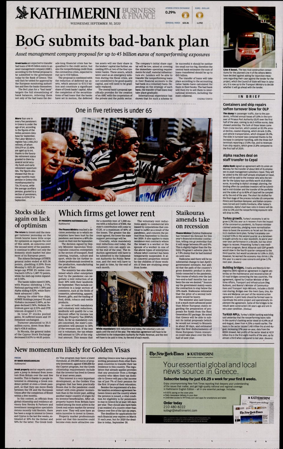 Οπισθόφυλλο Εφημερίδας - INTERNATIONAL NEW YORK TIMES_KATHIMERINI - 2020-09-30