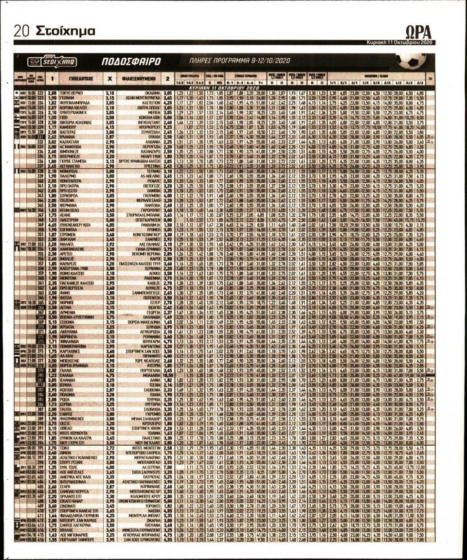 Οπισθόφυλλο Εφημερίδας - Ώρα για Σπόρ - 2020-10-11