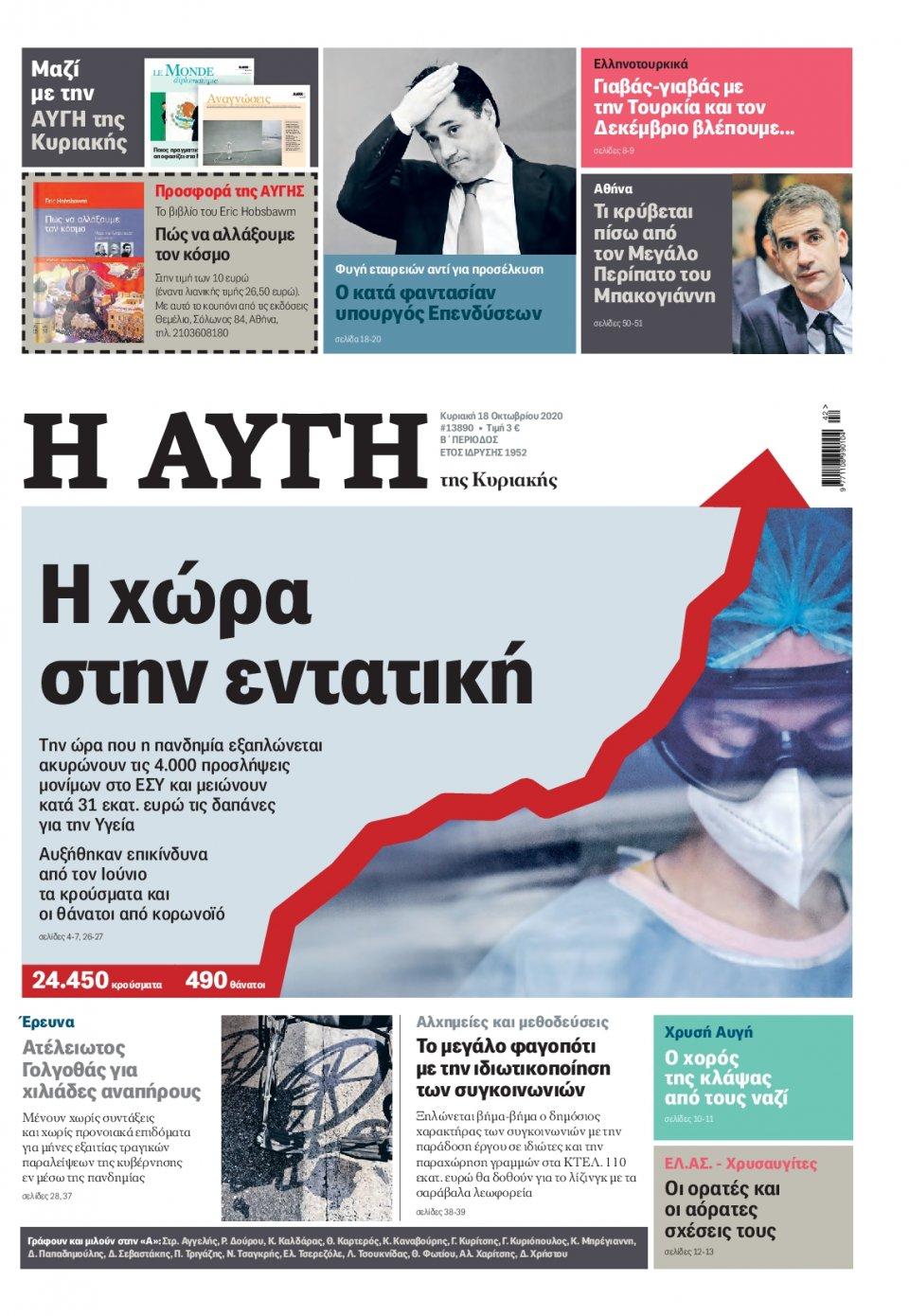 Πρωτοσέλιδο Εφημερίδας - Αυγή - 2020-10-18