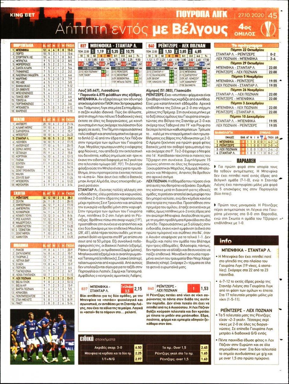 Οπισθόφυλλο Εφημερίδας - King Bet - 2020-10-27