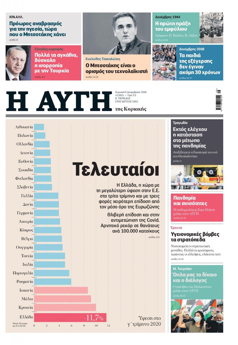 Πρωτοσέλιδο Εφημερίδας - Αυγή - 2020-12-06