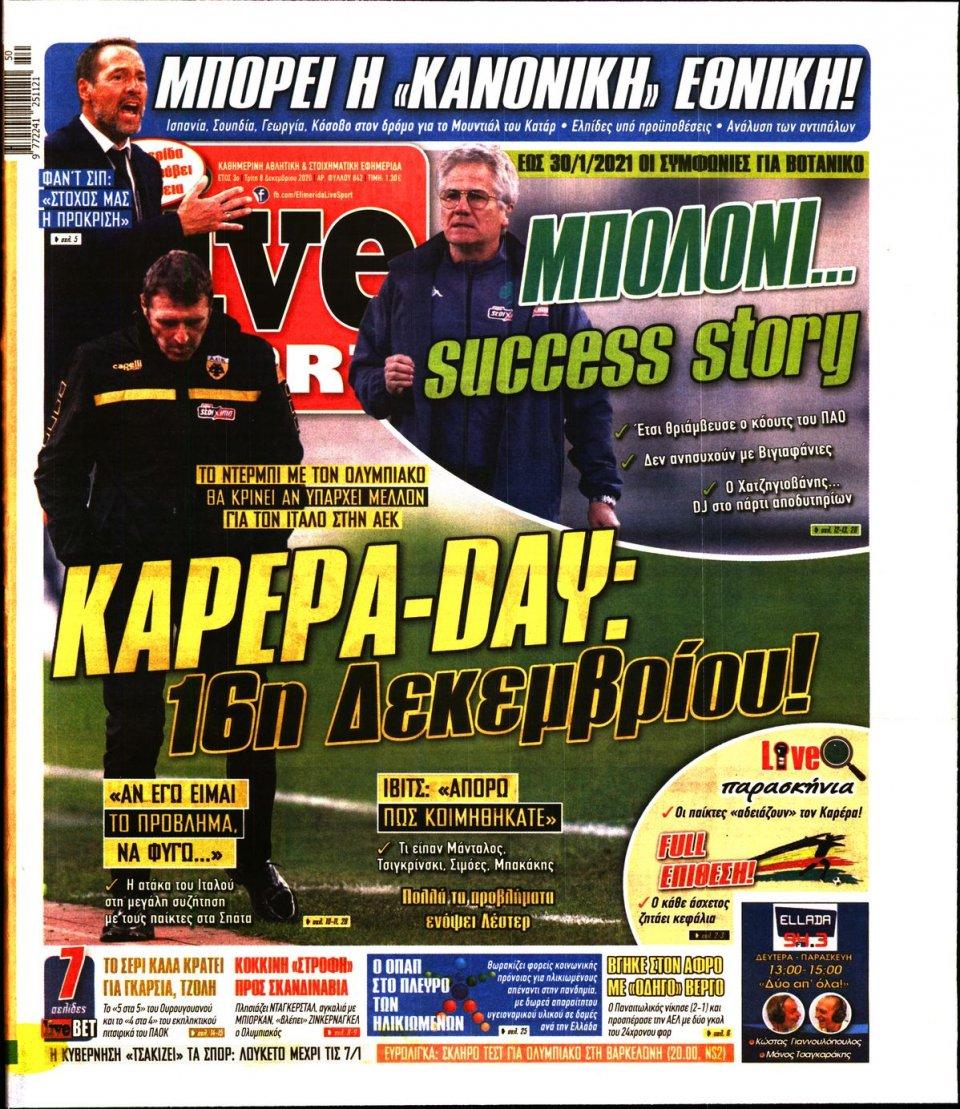 Πρωτοσέλιδο Εφημερίδας - LIVE SPORT - 2020-12-08