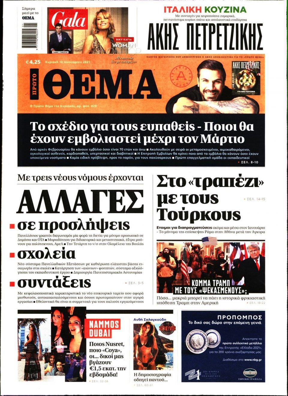 Πρωτοσέλιδο Εφημερίδας - Πρώτο Θέμα - 2021-01-10