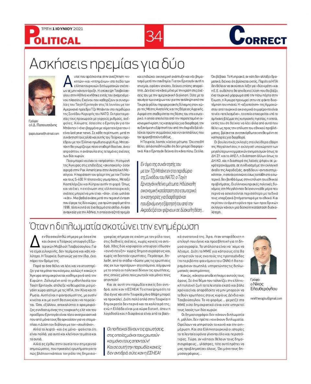 Οπισθόφυλλο Εφημερίδας - POLITICAL - 2021-06-01
