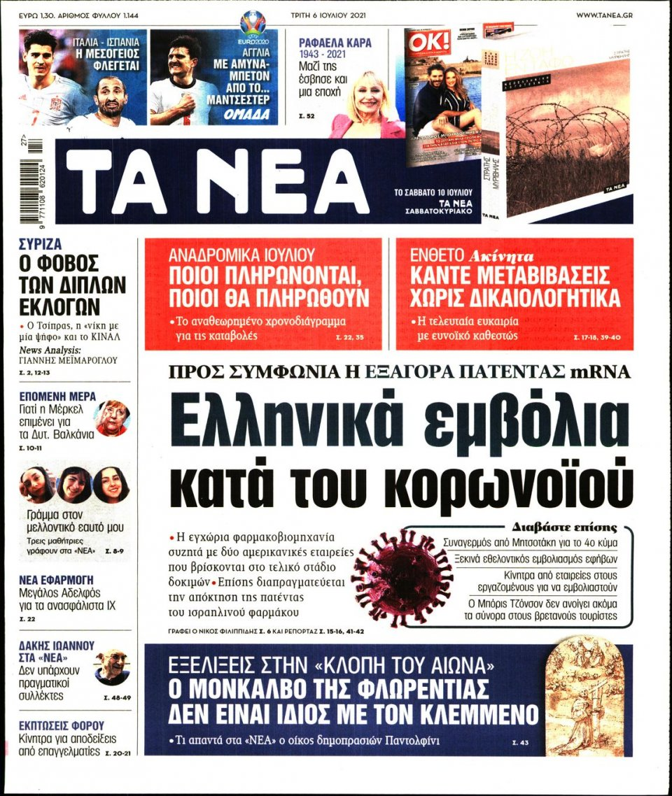 Πρωτοσέλιδο Εφημερίδας - Τα Νέα - 2021-07-06