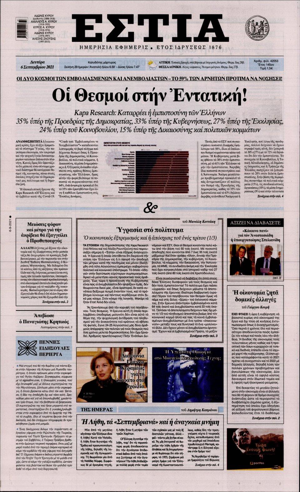 Πρωτοσέλιδο Εφημερίδας - Εστία - 2021-09-06