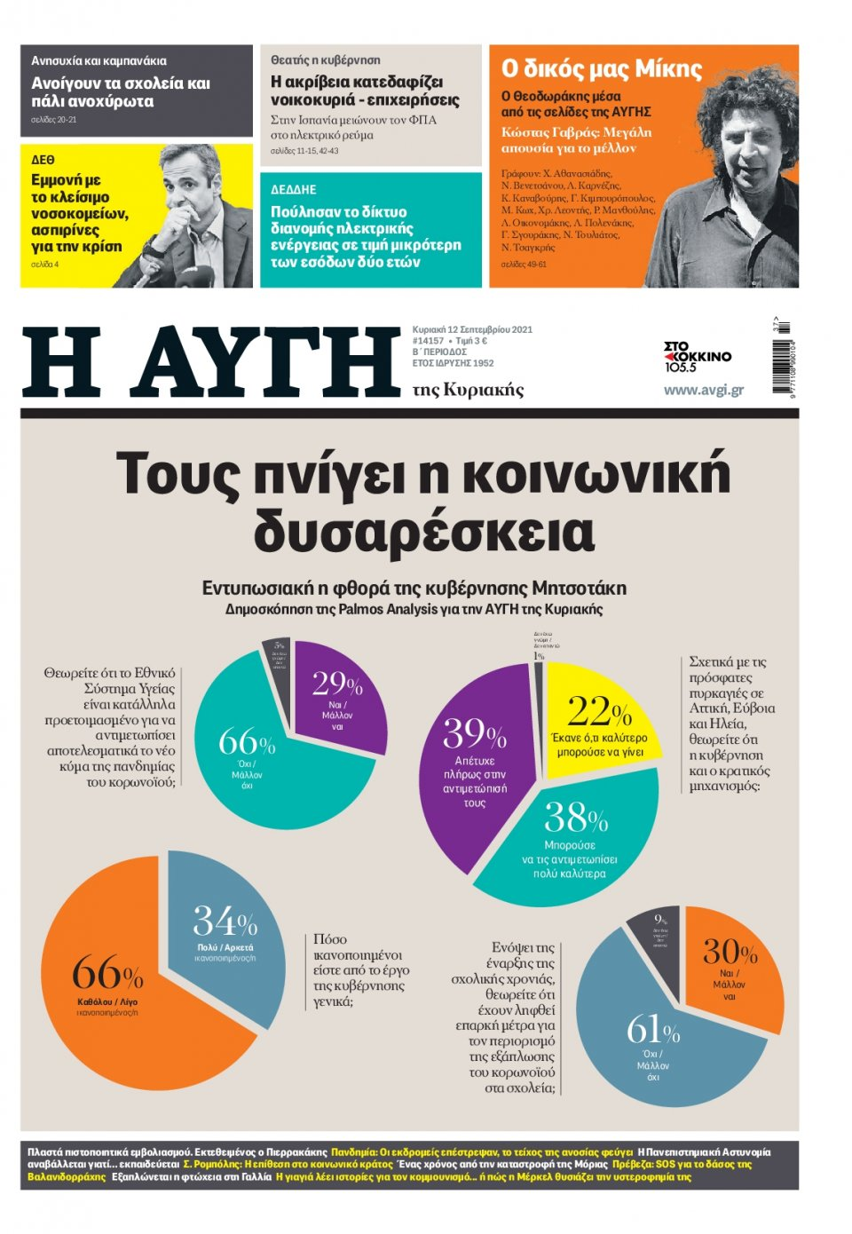 Πρωτοσέλιδο Εφημερίδας - Αυγή - 2021-09-12